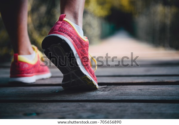 Close up picture of runners shoes