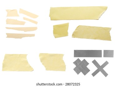 close up of pieces of adhesive tape on white background