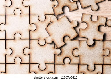 Close up of the pieces of a puzzle.