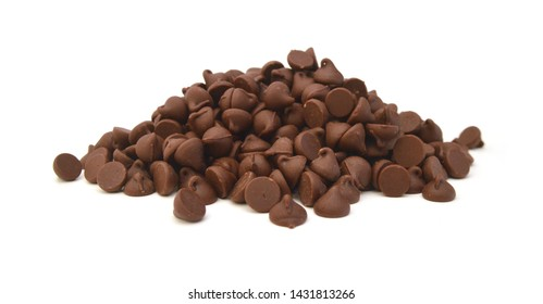 Close up pile of chocolate morsels on white background