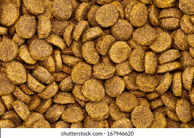 Close up of a pile of dog kibble