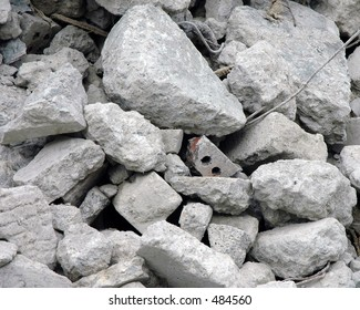 Close up of a pile of rubble from demolished building