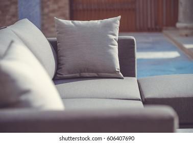 Close up pillow on sofa living