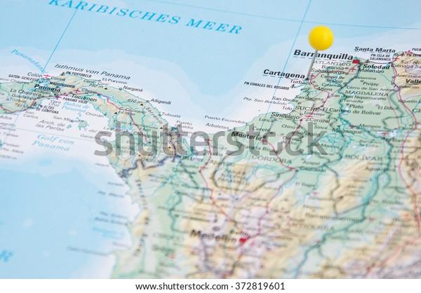 Close Pin On Map Cartagena Colombia   Royalty-Free Stock Image on quito map, medellín, santa marta, london map, gran colombia, alcoy map, montevideo map, san juan, el puerto de santa maria map, colombia map, lima map, havana map, santiago map, bogota map, sierra nevada de santa marta map, santiago de cali, la paz, medellin map, panama city map, cerro de pasco map, barbados map, san salvador, buenos aires map, monterrey map, bridgetown map, guayaquil map, guatemala city, el dorado international airport map,