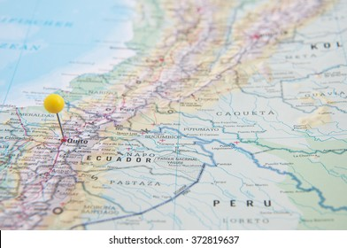 Close Up of Pin on the map, Quito, Ecuador, South America.