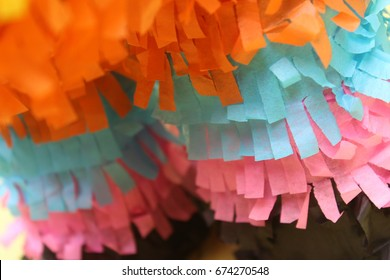 close up of a pinata's fringe work.