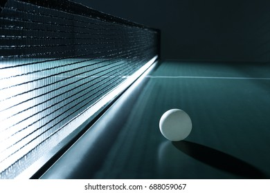 close up ping pong table and ball