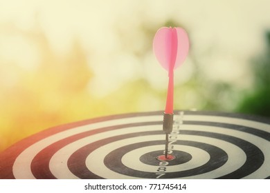 close up pink arrow hitting on target center of dartboard with nature bokeh copy space background for text, success and business concept, process vintage tone