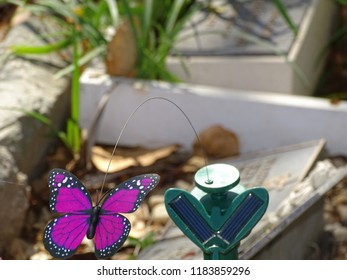 Close Up Of Pink Plastic Garden Butterfly