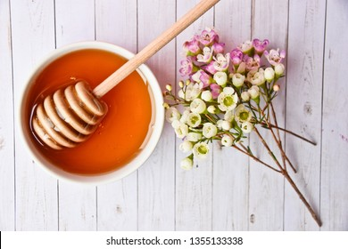 Close up of pink and white manuka tree flower, honey and dipper in a bowl on a light background. No people. Healthy beverage for nutrition and also spa treatment.