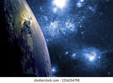 close up planet earth biosphere in space with stars and galaxy on background. Elements of this image furnished by NASA.