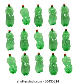 Close up of plastic bottles on white background.