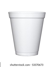 close up of plastic cup of coffee on white background with clipping path