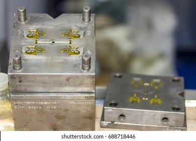 Close up plastic injection mold for mass production (manufacturing process for industrial work)