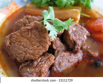 close up for a plate of beef stewed