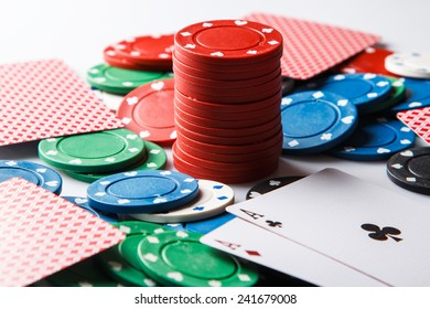 Close up of poker cards and chips