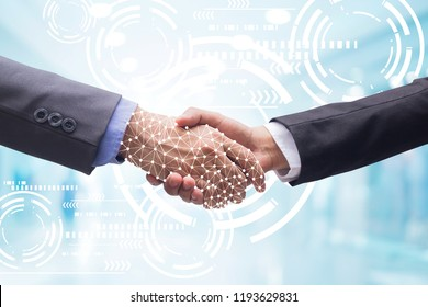 close up politeness of businessman hand shake with AI hologram business innovation on blur technology background with virtual future wheel (isolated with path)