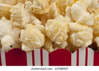 Close up of popcorn in popcorn box.