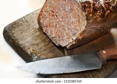 Close up of pork pate in a kitchen