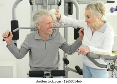 Close up portrait of active smiling senior couple