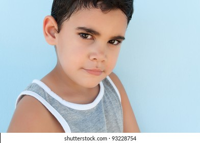 Close up portrait of an adorable latin child