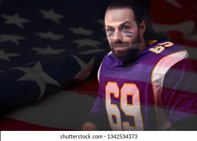 Close up portrait of adult American Football Player in uniform with flag of USA on background