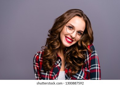 23058672eaa Close up portrait of amazing beautiful she her lady people person sweet  awesome hairdo toothy smiling
