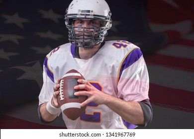 Close up portrait of American Football Player posing in studio wearing violett uniform with US flag on background