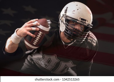 Close up portrait of American Football Player in black professional uniform