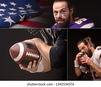 Close up portrait of American Football Player, collage.