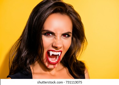 Close up portrait of angry mystical, satanic cursed, witch, gorgeous, with hunger and thirsty, terrifyng diabolic mysterious conjured grimace, with open mouth, like zombie, isolated on background
