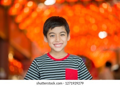 Close up portrait Asian boy happy smile