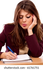 Close up portrait of an attractive businesswoman writing a contract