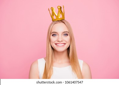 Close up portrait of attractive charming gentle cool beautiful romantic with toothy smile gray-eyed with dimples straight smooth healthy hair teenager with crown on head isolated background copy-space