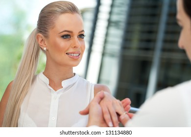 Close up portrait of attractive woman on proposal date.