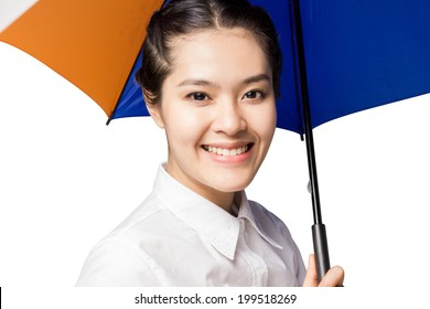 Close up portrait of an attractive young woman under umbrella on white background.