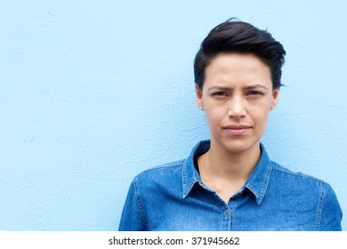 Close up portrait of an attractive young woman with short hair