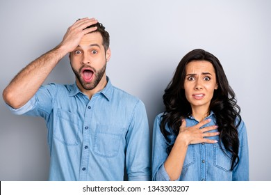 Close up portrait beautiful amazing she her he him his couple lady guy look oh no facial expression unbelievable unexpected news wear casual jeans denim shirts outfit clothes isolated grey background