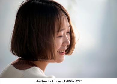 close up portrait beautiful Asian girl.