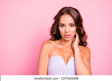 Close up portrait of beautiful, attractive, pretty, beautiful dreamy lovely, sweet brunette person touch neck by hand look at camera isolated on vivid pink background with copy space for text