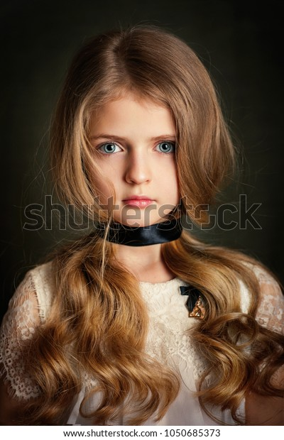 Close Portrait Beautiful Blonde Girl Blue Stock Photo Edit Now 1050685373