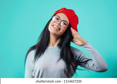 close up portrait of beautiful brunette girl coming to hand salute. greetin. return a salute