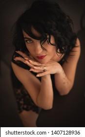 Close up portrait of beautiful brunette woman, selective focus