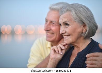 Close up portrait of beautiful caucasian senior couple