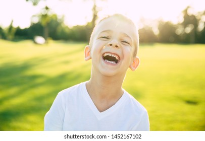 Close up portrait of beautiful happy and funny little boy or kid outdoors in green summer park