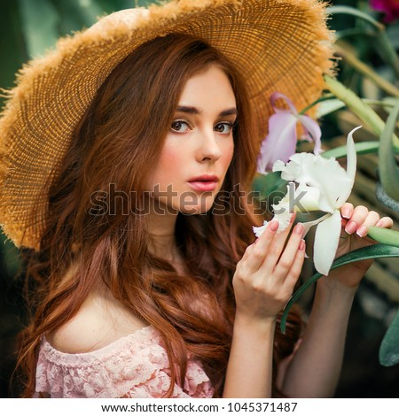 Close up portrait of a beautiful red hair girl in a pink vintage dress and  straw e3c0ad1ad476