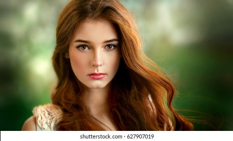 Close up portrait of  a beautiful red haired girl on green background. .Amazing model looking at camera expressive.Warm art work