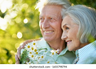 Close up portrait of beautiful senior couple huging in the summer park