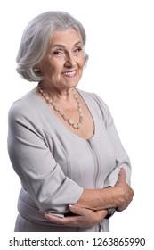 Close up portrait of beautiful senior woman posing