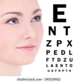 close up portrait of beautiful woman and eye test chart isolated on white background